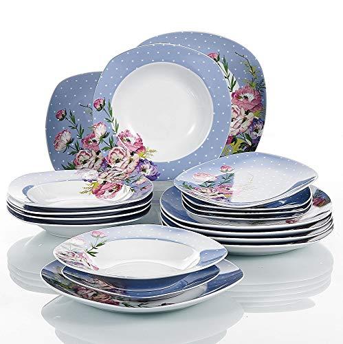 VEWEET Hannah Juegos de Vajillas 18 Piezas de Porcelana con 6 Platos,...