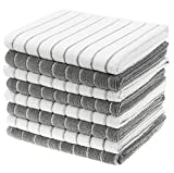 Gryeer Microfiber Dish Towels - 8 Pack (Stripe Designed Gray and White Colors) - Soft, Super...