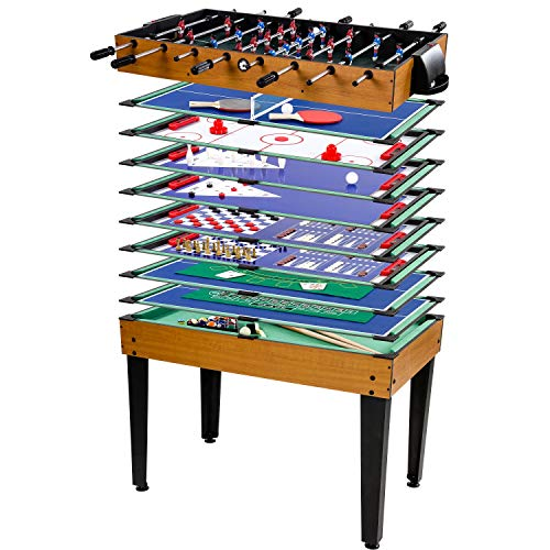 Maxstore Multigame Spieletisch Mega 15 in 1, inkl. komplettem Zubehör, Spieltisch mit Kickertisch, Billardtisch, Tischtennis, Speed Hockey UVM. in hellem Holzdekor