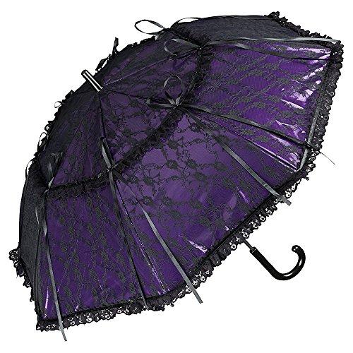 VON LILIENFELD Regenschirm Damen Sonnenschirm Automatik Brautschirm Hochzeitsschirm Lackleder Optik Spitze Luna violett