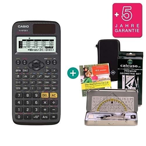 Streberpaket: Casio FX-87DE X + Schutztasche + Lern-CD + Geometrie-Set + Erweiterte Garantie