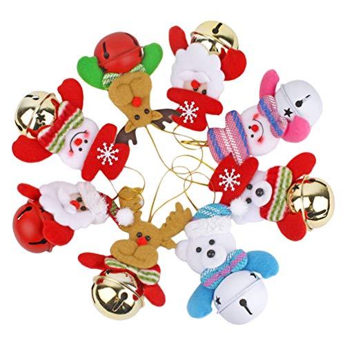 NUOBESTY 8 Stücke Christbaumschmuck Anhänger mit Glöckchen Christbaumanhänger Figuren Baumschmuck Weihnachtsdeko Weihnachtsschmuck Weihnachten Hängedeko Weihnachtsbaum Deko