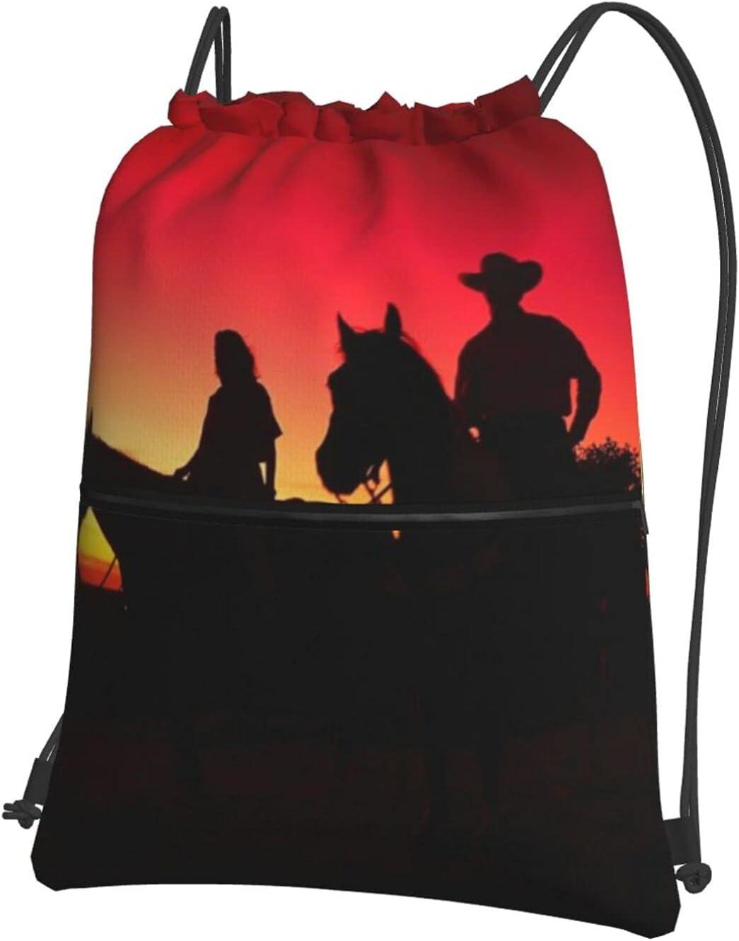 Texas Ranking TOP3 Cowboy Sacramento Mall Drawstring Backpack Zipper Bag