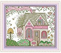 Cross Stitch Kit for Adults with Stamped FabricEmbroidery Kits for Beginners Children & Adults with 11Ct Printed Pattern Chalet Landscape 16X20 Inches