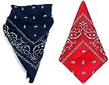 Cisne 2013, S.L. Pack de Dos Pañuelos Bandana de Algodón Microfibra para Cabeza o Cuello. Pañuelo Unisex para Hombre y Mujer. Tamaño aproximado 55x55cm. Color Rojo y Azul Marino
