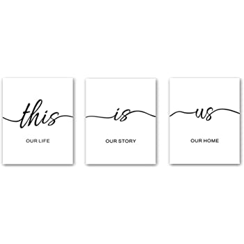 """Unframed Inspirational Lettering Quotes Wall Art Print This Is Us Painting, Set of 3(8"""" x10"""" )Canvas Motivational Saying Poster Black&White Artwork For Living Room Classroom Decor"""