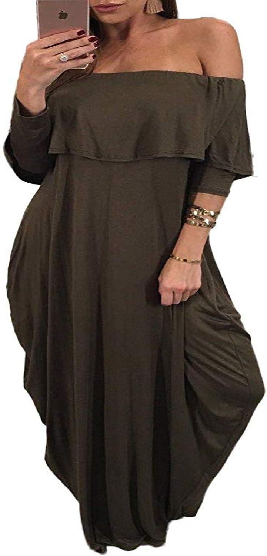 Hestenve Women Off Shoulder 3 4 Sleeve Flouncing Bohemian Maxi Dress with Pockets