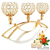 table centerpieces dining room - Autai Gold Crystal Candle Holders,3-Candle Candelabras,Table Centerpieces for Wedding/Holiday/Birthday Party Dining Table Candlelight Home Decoration,Thanksgiving Housewarming Gifts