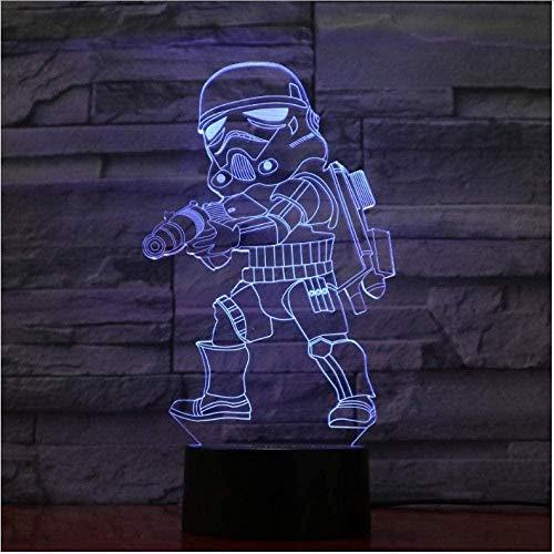 3D Luz Nocturna Led Lámpara De Ilusión Darth Vader lámpara de escritorio creativa para cumpleaños Con carga USB, control táctil de cambio de color colorido
