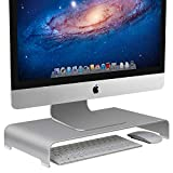 Vaydeer Aluminum Monitor Stand Computer Riser Universal Metal Desktop Stand Base up to 27 inches Screens for PC , Laptop, iMac, Mac, MacBook with Storage Space for Magic Keyboard & Mouse(Silver)