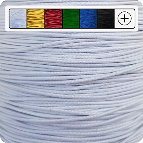 GIPFELWERK® Gummikordel | 5 Meter | 1mm / 1,5mm / 2mm / 2,5mm / 3mm | Rund | Elastisch | Gummiband | Rundgummi (~1mm, Weiß)