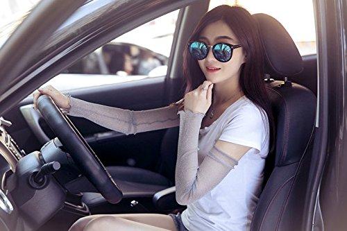 JIAHG Damen Kühlung Arm Ärmel UV-Sonnenschutz Stulpen Mädchen Anti-Rutsch Armstulpe Sportstulpe für Radfahren Laufen Golf Reise Einkaufen L:52cm - 3
