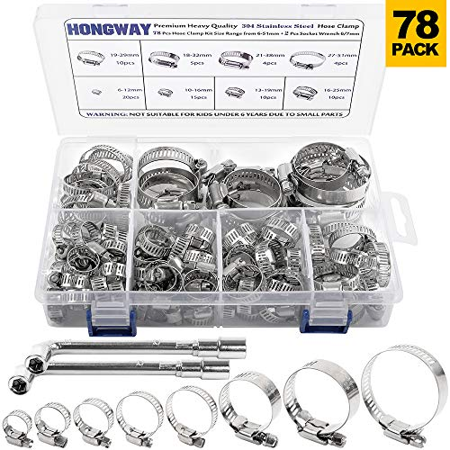 HongWay Hose Clamp Stainless Steel Assortment 78Pcs Adjustable Range 1/4-2 in(6-51mm), 304 Stainless Steel Hose Clamp with 2Pcs Socket Wrench, for Plumbing, Automotive and Mechanical Application