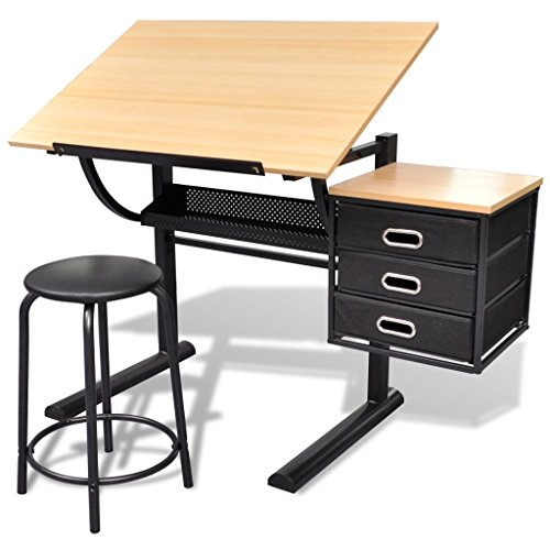 Anself Schreibtisch Zeichentisch mit 3 Schubladen und Hocker höhenverstellbar