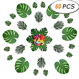 CXUKUN Tropical Plant Palm Leaves/Faux Monstera Leaves Stems, Artificial Palm Leaves and Hibiscus Flower Faux Leaves Safari Leaves Hawaiian Luau Party Suppliers Decorations