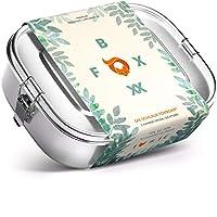 FOXBOXX® Brotdose Edelstahl Premium | Auslaufsicher mit 3 Fächer / 2 Trenner plastikfrei nachhaltig | Lunchbox Brotbox Vesperdose Brotbüchse Brotzeitbox | Kind Schule Kindergarten | Mini 800ml
