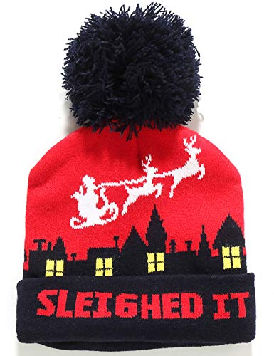 SSLR Adult Fashion Cuffed Knit Ugly Christmas Beanie Hat (One Size, Red Navy)