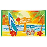 Amakando Stoffbanner Sommerparty - 90 x 150 cm - Partybanner Beach Party Transparent Sommerfest Textilbanner Mottoparty Hawaii Dekoration Karibik Bar Südsee Partybanner Beach Party