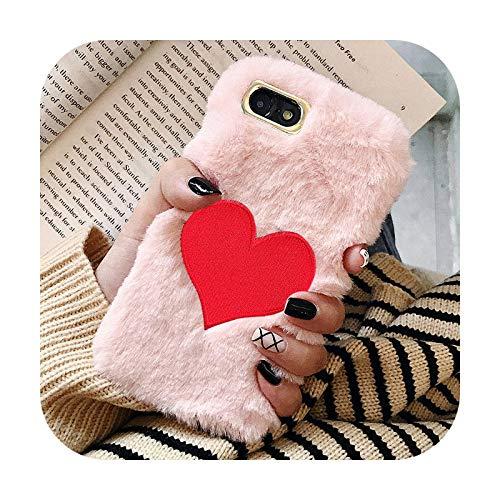 FightLY Funda para iPhone Xs MAX X XR 6 6S 7 8 Plus 5 5S SE Love Heart TPU pelo pelo cubierta Etui-Rosk-para iPhone 7 Plus