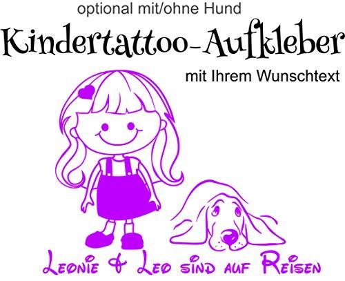Kinder/Babyaufkleber- Autoaufkleber-Wandtattoo ***Mädchen 05 (mit/ohne Hund) inkl. IHREM WUNSCHTEXT*** freie Schrift.-Größen & Farbauswahl