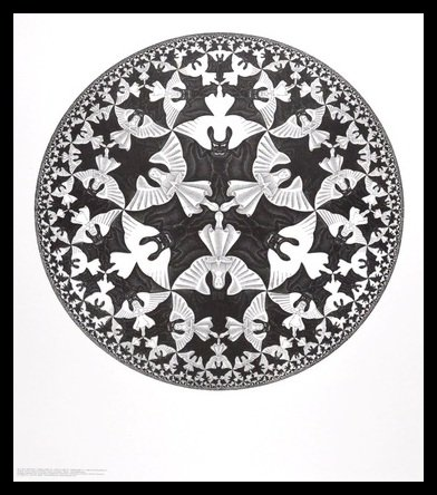 Germanposters MC Escher Poster Kunstdruck Bild Kreislimit IV im Alu Rahmen in schwarz 71x61cm