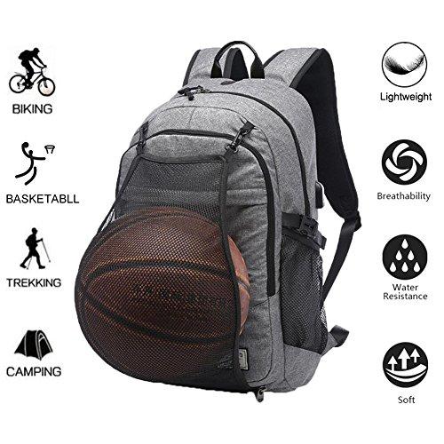 """Valleycomfy Basketballrucksack Herren Boy Leinwand Sport Rucksack Mit Faltbar Basketball Net Und USB Lade-Schnittstelle (passen 15.6\"""" Laptop), Grau"""