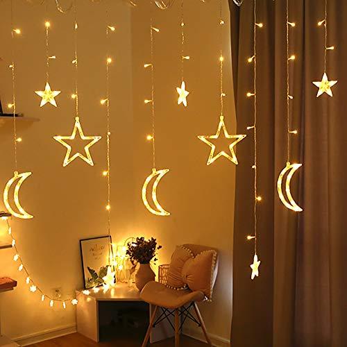 JKKJ LED Star Moon Curtain String Lights, Window Curtain Lights with 8 Flashing Modes Ramadan Decoration Christmas Wedding, Party, Home, Patio Lawn Decorations