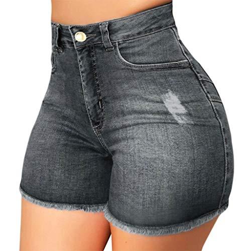 AFFGEQA Damen Lochjeans Shorts High Waist Sommer Casual Jeanshosen Slim Fit Zerrissene Hotpants Jeans Kurz Denim Hosen mit Taschen