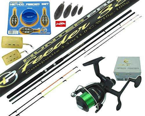 Feeder Carp Fishing kit Quiver Tip Rod Reel Combo Ledgering Tackle Set Twin Tip