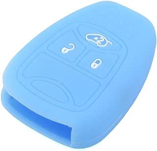 SEGADEN Silicone Cover Protector Case Skin Jacket fit for CHRYSLER DODGE JEEP Remote Key Fob CV4751 Light Blue