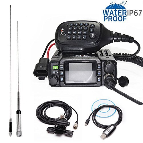 TYT TH-8600 IP67 Waterproof Dual Band VHF UHF 136-174MHz/400-480MHz 25W Car Radio HAM Mobile Radio with Antenna,Clip Mount,USB Cable Dual Band Quad Band