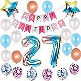 Juego de globos de decoración para 27 cumpleaños con arco iris, para...
