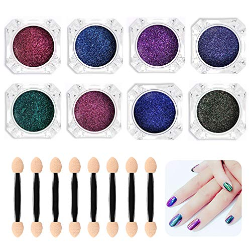 Biutee Nail Chameleon Powder 8 Farben Magic Mirror Powder Nail Glitter Nail Chrom Powder Maniküre...