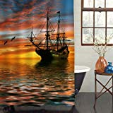MitoVilla Vintage Sailboat Shower Curtain Set with Hooks, Cruise Ship Sailing in the Ocean with Sunset Following by the Seagull Birds Bathroom Decor, Waterproof Bathroom Accessories, Gold, 72 W x 78 L