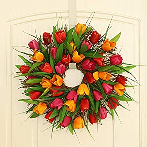 Naladoo Artificial Flower Wreath Tulip Wreaths for Front Door Spring Wreaths Floral Wreaths Easter Wreath for Outdoor Weeding Decor Spring Decor Green Wreath Summer Decorating Ornaments