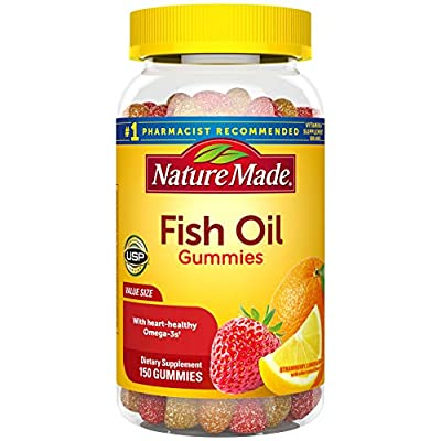 Nature Made Fish Oil Gummies, 150 Softgels Value Size, with Heart-Healthy Omega 3s 57 mg, in Strawberry, Lemon, & Orange