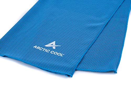 Arctic Cool Instant Cooling Towel Performance Tech Breathable Moisture Wicking Easy to Clean, Polar Blue / Cool Black