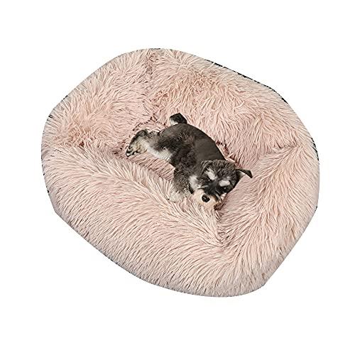 shenchia Cama cuadrada para perro calmante mullida para mascotas Cama larga de felpa suave y cálida con parte inferior antideslizante para...