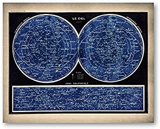 ZZZCAR - Painting & Calligraphy - French Version Celestial Star Chart Constellations Canvas Poster Wall Art Painting Print...
