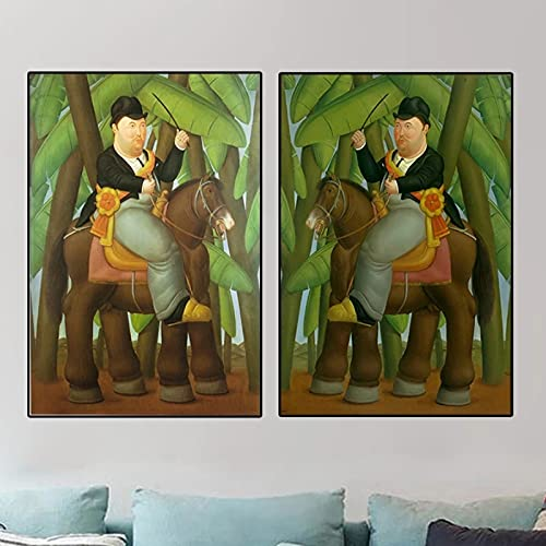 Hombre montando a caballo de Fernando Botero Pinturas de arte famosas Bailarina Lienzos e impresiones artísticos Imágenes clásicas Decoración para el hogar -20x28 pulgadas x3 Sin marco