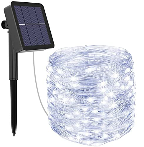 Solar String Lights Outdoor Waterproof Fairy Lights 131ft 400 LED Copper Wire Lights 8 Modes Solar Powered String Lights for Indoor Outdoor Patio Yard Trees Party Decor (Cool White)