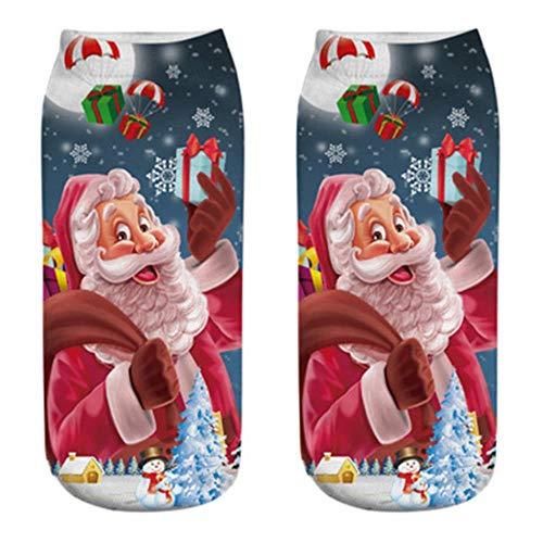 Miwaimao 1 par de Calcetines Bonitos de Dibujos Animados para Mujer Otoño Invierno Calcetines cálidos Zapatillas Cortas Santa Claus muñeco de Nieve Estampado Tobillo Calcetines, L