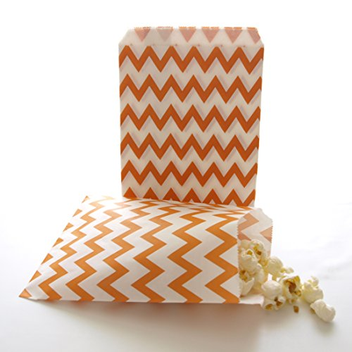 Orange Dessert Bar To-go Snack Bags, Paper Chevron Bags, Fall Wedding Favors, Orange Chevron Bags (25 Pack)