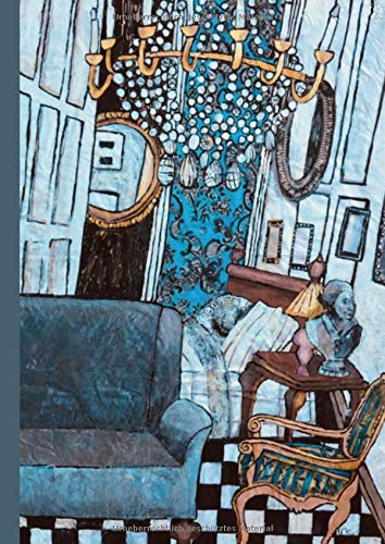 Skizzenbuch für Künstler: Bild Interieur in Weiß-Grau mit Friedrich II, Kronleuchter mit Büste, leeres Notizbuch mit schönem Cover für Kreative, Übungsbuch für Grafiken und Zeichnungen
