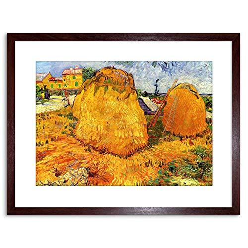 Wee Blue Coo Painting Van Gogh Haystacks Provence Framed Wall Art Print Decoración de la Pared del Cartel Enmarcado impresión 9x7 Pulgadas