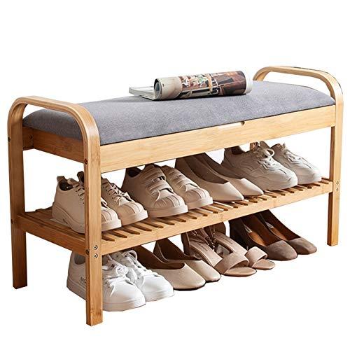 WHOJA Zapatero Cojín de Tela Diseño Clamshell Baranda Doble Banco de Zapatos Marco de bambú Adecuado for Pasillo de Sala de Estar de Dormitorio Armario Multifuncional 60 / 90cm Estantería