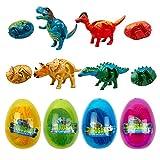 Jofan 4 Pack Jumbo Dinosaur Deformation Eggs Prefilled Plastic Easter Eggs with Toys Inside for Kids Boys Girls Toddlers Easter Basket Stuffers Gifts Party Favors