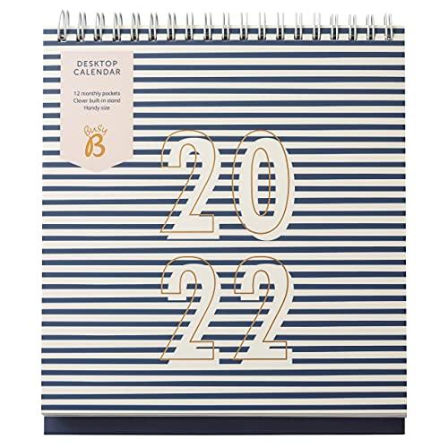 Busy B Desktopkalender van januari tot december 2022 – Navy Stripe bureauplanner met zakken en ingebouwde standaard…