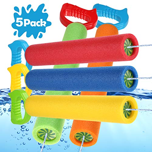 SCIONE Water Guns for Kids,5 Pack Squirt Water Gun Foam Water Cannon for 4 5 6 7 8 9 10 11 12 Year Old Boys Girls - Summer Pool & Water Kids Toys Shoots Up to 35 Ft