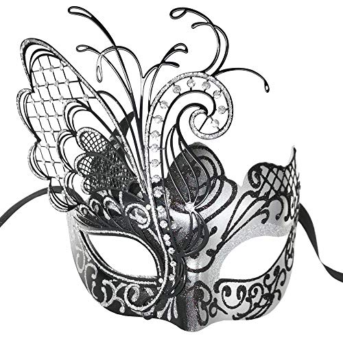 Masquerade Mask For Women Venetian Mask/Halloween/Party/Ball Prom/Mardi Gras/Wedding/Wall Decoration-Silver butterfly